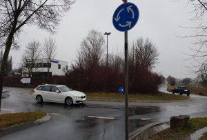 Kreisverkehr in Richtung Kürnach